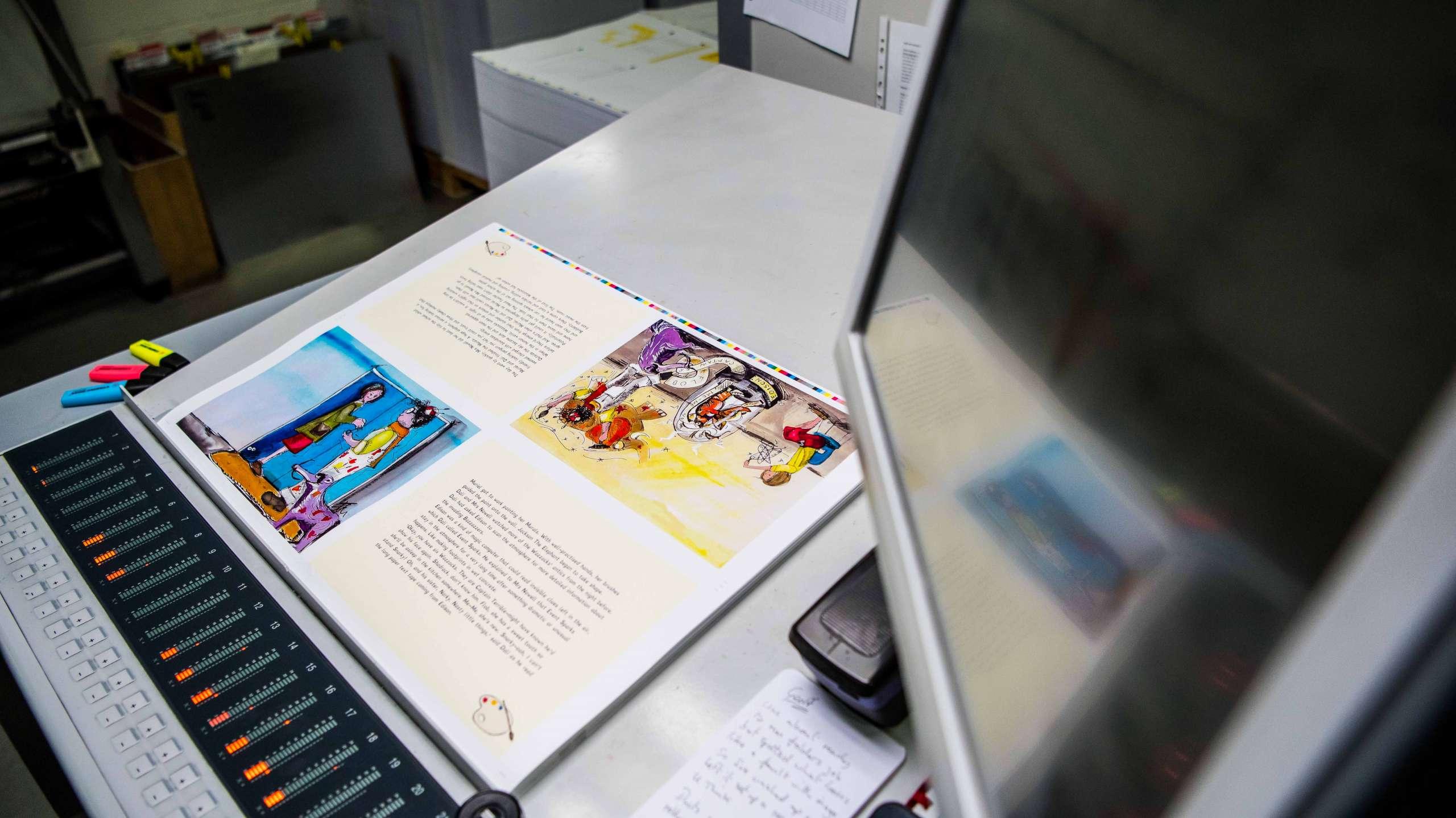 Magazine layout on desk