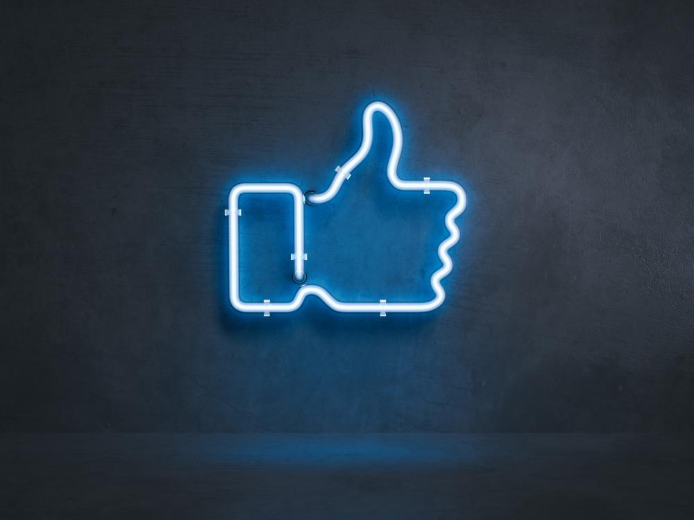 facebook thumb neon light